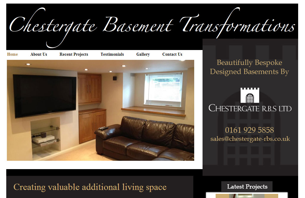 Website for cellar conversions company in Altrincham, South Manchester