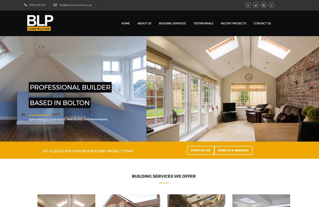 website design for BLP Construction a local builder in Bolton