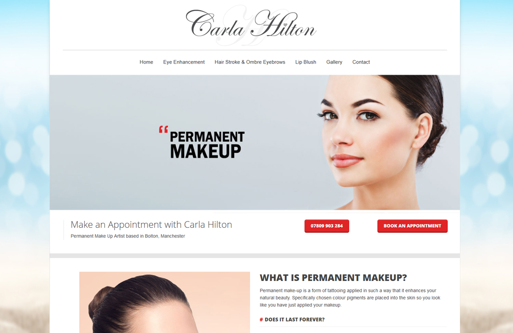 permanent makeup website for Carla Hilton in Manchester